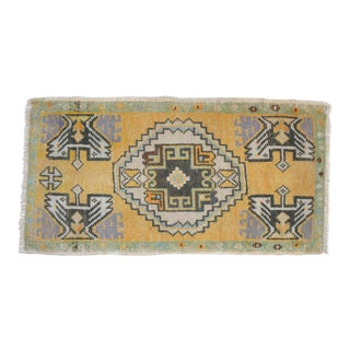 Distressed Low Pile Turkish Yastik Petite Rug Hand Knotted Faded Mat - 19'' X 37'' For Sale