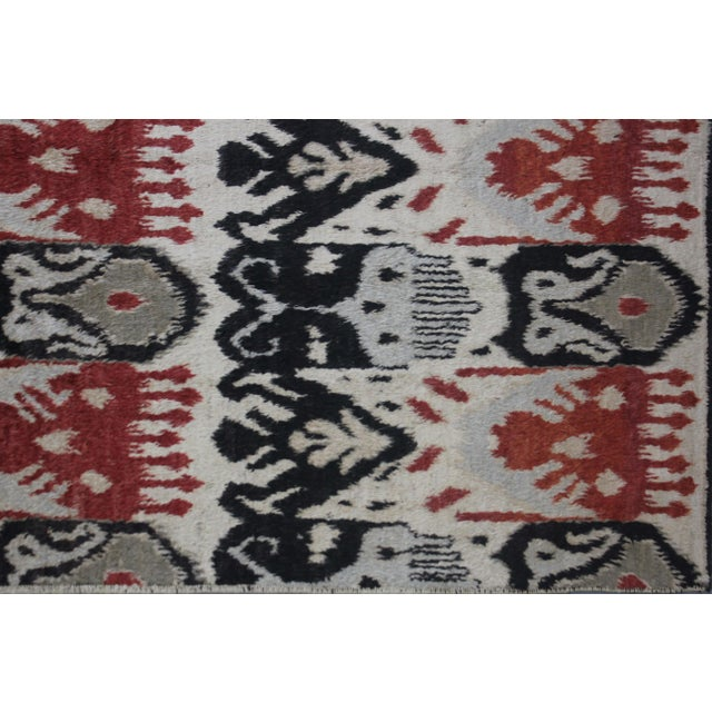 """Hand Knotted Ikat Rug - 12'5"""" X 9'2"""" For Sale - Image 4 of 5"""