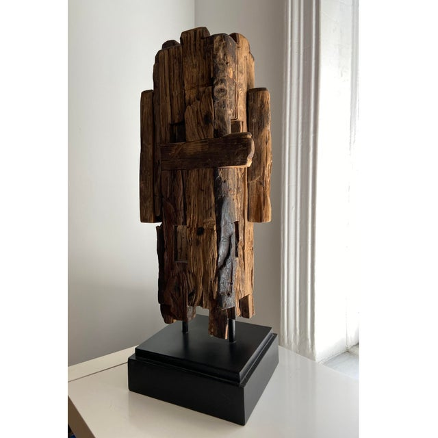 Safavieh Abstract Mid-Century Style Wooden Sculpture For Sale - Image 4 of 4