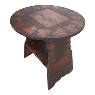 Folk Art Pyrography Side Table With California Landscapes & Grape Leaves For Sale