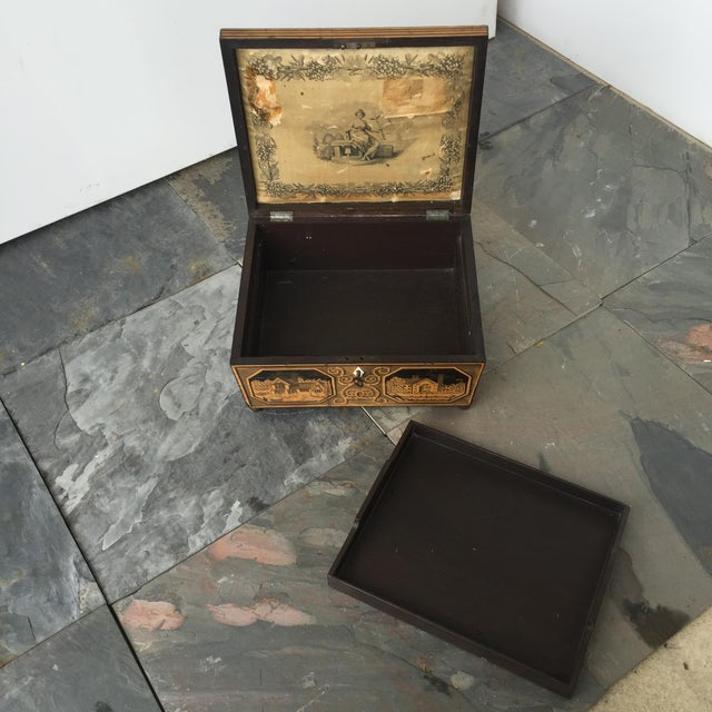 19th Century English Pen-Work Decorated Box For Sale In Columbia, SC - Image 6 of 6