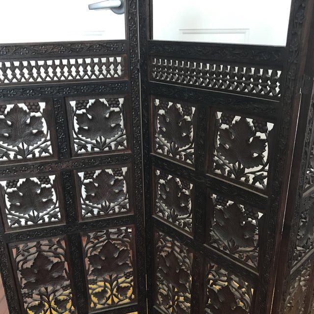 Vintage Mid-Century Hand Carved Table Top Teak Room Screen For Sale - Image 4 of 6