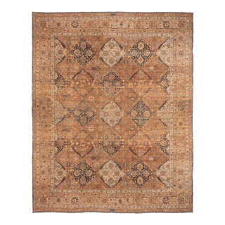 Antique Yazd Brown and Blue Wool Rug with All-Over Floral Patterns For Sale