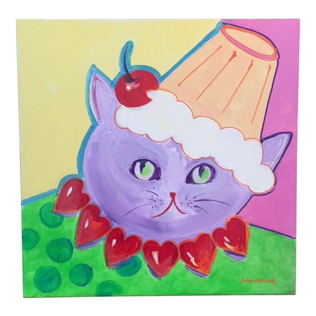 Painting of The Valentine Cat With the Cupcake Hat For Sale