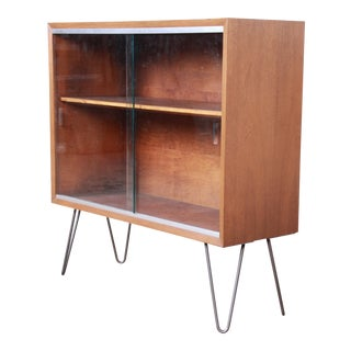 George Nelson for Herman Miller Walnut Glass Front Bookcase on Hairpin Legs For Sale