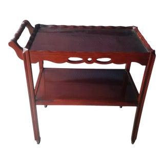 Antique English Mahogany Tea Trolley Bar Cart For Sale