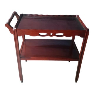 English Mahogany Two Tier Serving Trolley Bar Cart For Sale