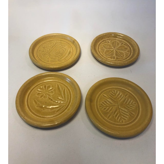 Pigeon Forge Pottery Yellow Coasters-Ashtrays Old Buttermold - Set of 4 For Sale - Image 10 of 13