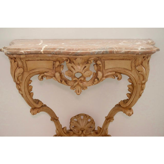 Louis XV Late 18th Century Louis XV Style Console Hand Carved Wood Marble Top- 2 Avail For Sale - Image 3 of 7