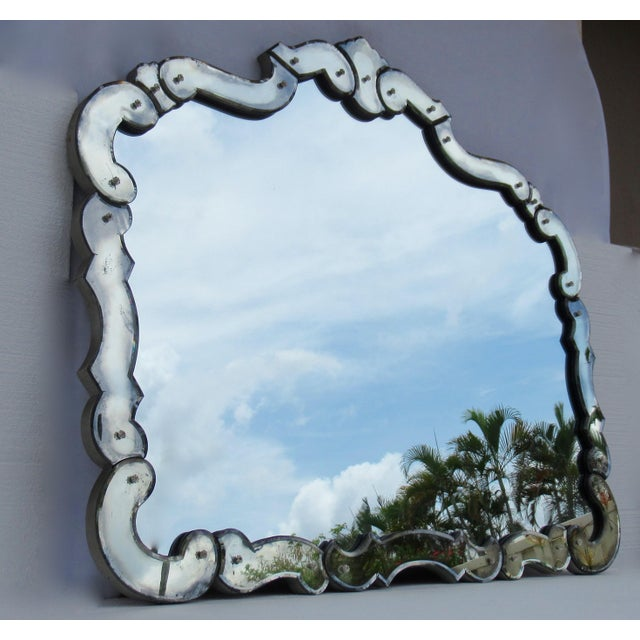 Art Deco Large 1940's-50's Hollywood Regency Era, Venetian-Style Antique Acid Finished Wall Mirror For Sale - Image 3 of 13