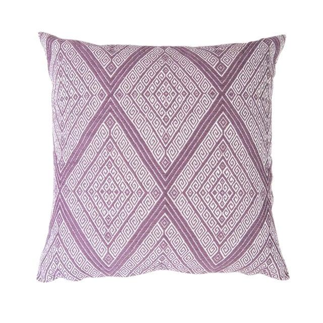 "Handwoven Mauve Diamond Pillow - 18"" × 18"" - Image 1 of 8"