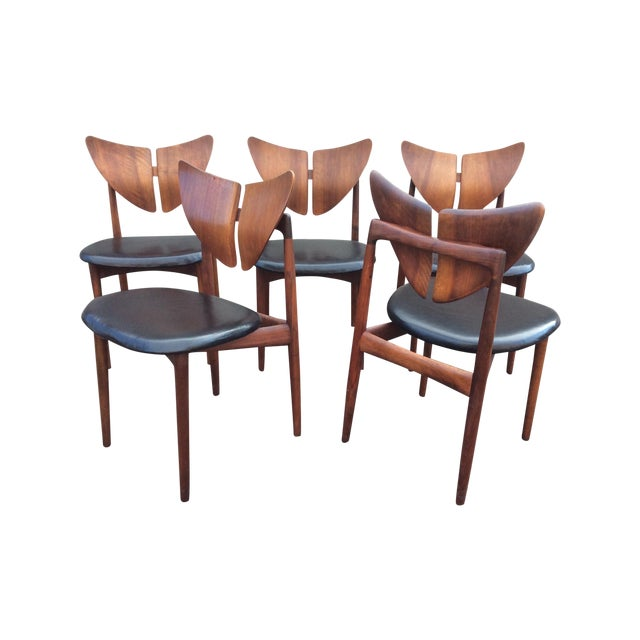 Ostervig Teak Leather Butterfly Chairs - Set of 5 - Image 1 of 9