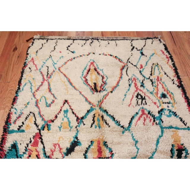 Textile Small Vintage Moroccan Colorful Rug - 4′2″ × 7′ For Sale - Image 7 of 10