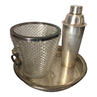 Silver Plated Champagne Bucket, Cocktail Mixer & Tray For Sale