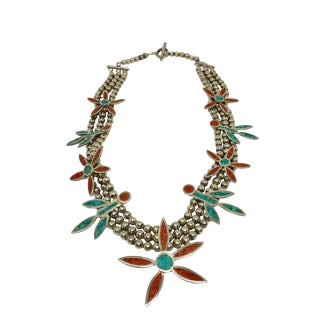Native American Silver Turquoise Coral Squash Blossom Necklace For Sale