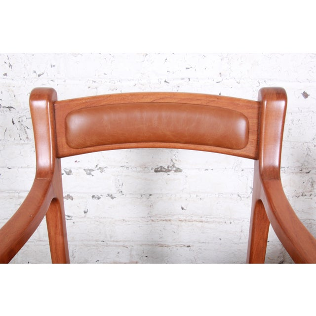 1960s Sculpted Solid Teak and Leather Studio Crafted Club Chairs - a Pair For Sale In South Bend - Image 6 of 13