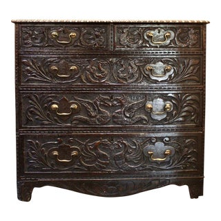 English Bureau With Dragon-Carved Drawer Fronts For Sale