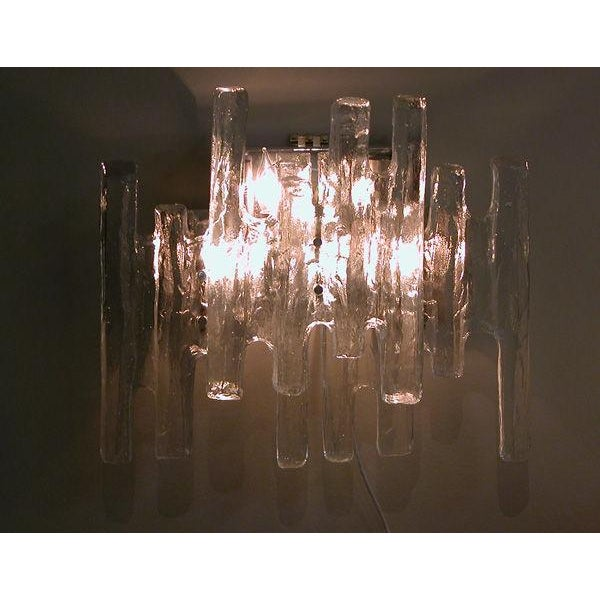 """Mid-Century Modern A Shimmering Pair of Austrian 1960's Clear """"Ice Block"""" Glass Wall Sconces by j.t. Kalmar For Sale - Image 3 of 4"""