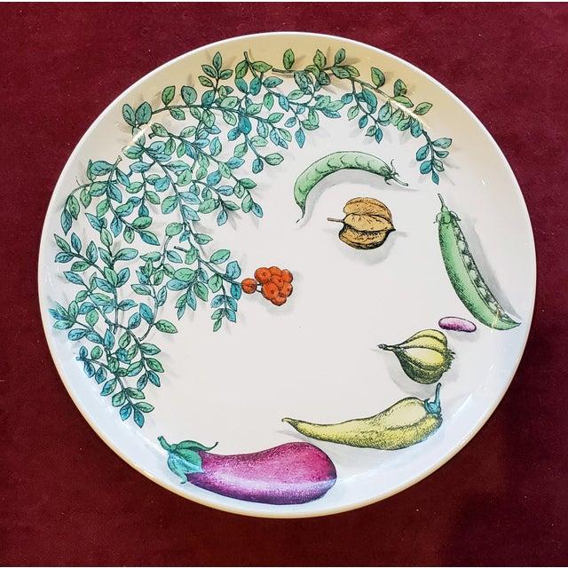 Canvas Piero Fornasetti Pottery Vegetalia Plate, #9 Rutino, 1950s. For Sale - Image 7 of 7