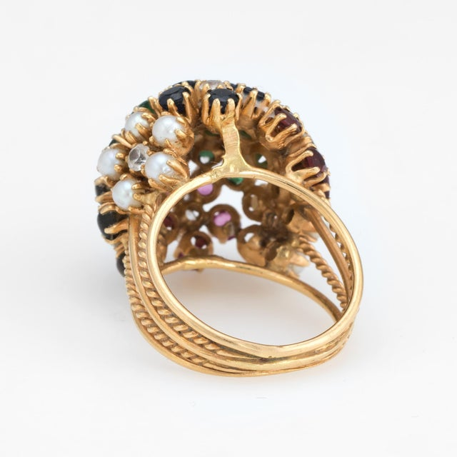 Mid 20th Century Vintage Dome Cocktail Ring Bombe Flowers 18 Karat Gold Rainbow Gemstones 5 For Sale - Image 5 of 7