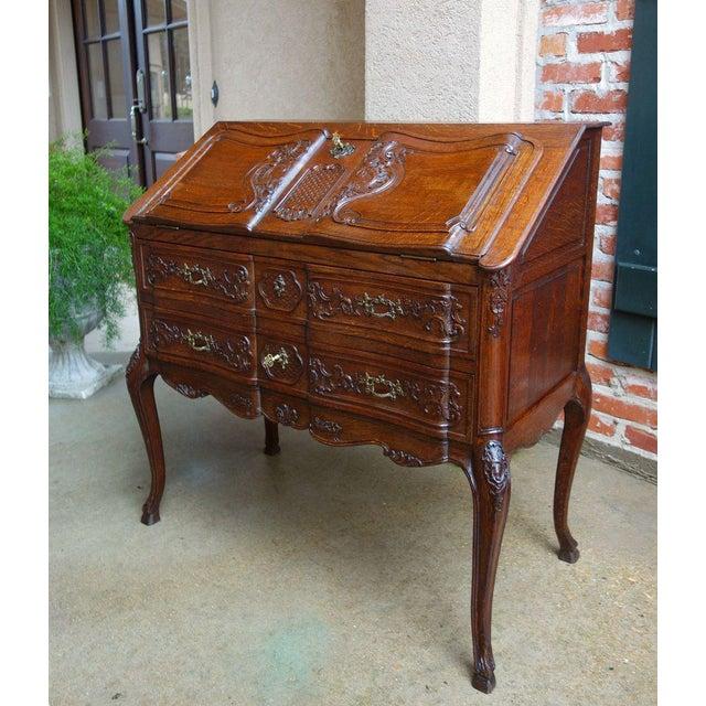 Antique French Carved Oak Secretary Desk For Sale - Image 11 of 11