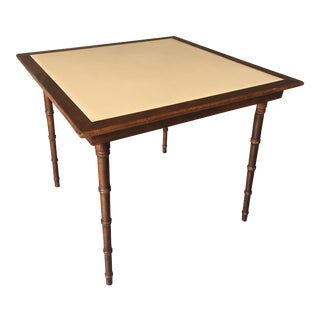 20th Century Boho Chic Faux Bamboo Stakmore Folding Table For Sale