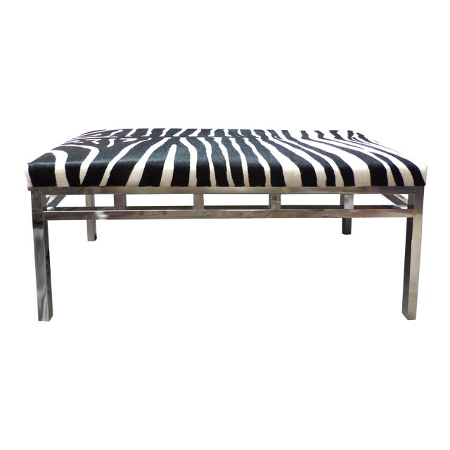 Zebra Hide Covered Mid-Century Bench For Sale