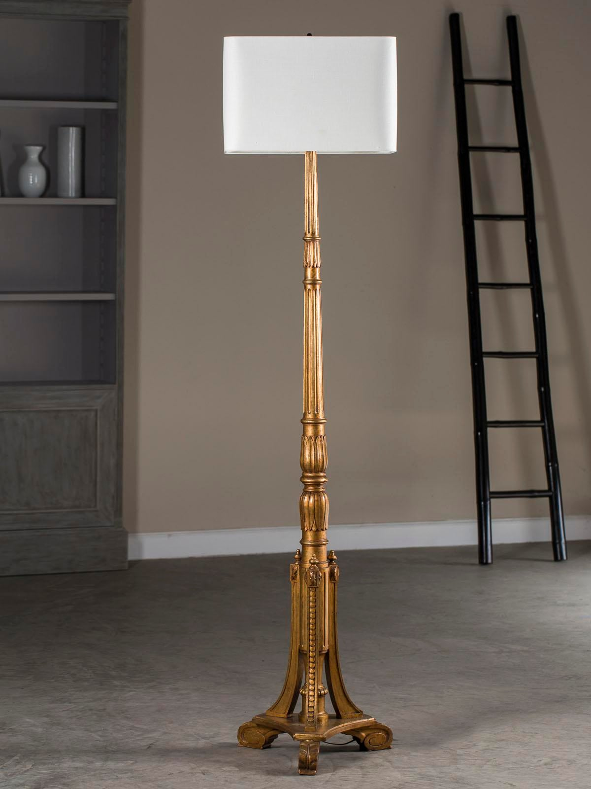 Antique french gilt wood candlestand floor lamp circa 1900 image 10 of 10