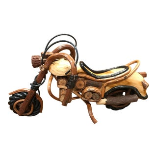 Wooden Motorcycle Statue For Sale
