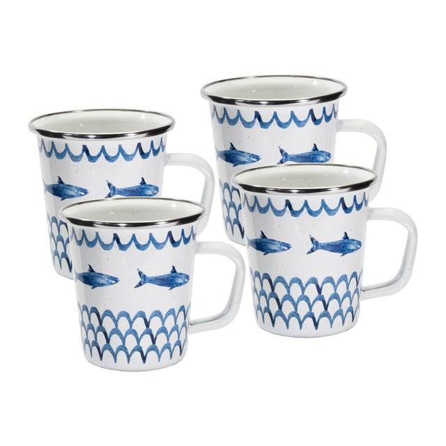Modern Latte Mugs Fish Camp - Set of 4 For Sale - Image 3 of 3