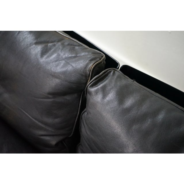 Resin Vintage Black Leather Sofa by German Designer Dieter Rams For Sale - Image 7 of 8