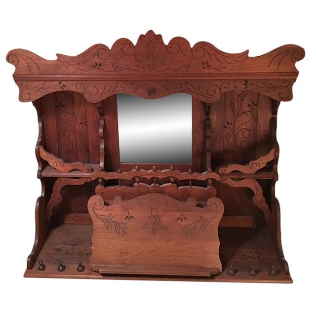 Antique Pump Organ Top With Mirror - Image 1 of 4