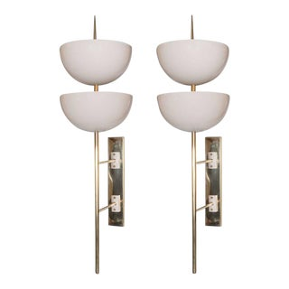Pair of Monumental Reverse-Dome Trophy Sconces in White Enamel and Brass For Sale