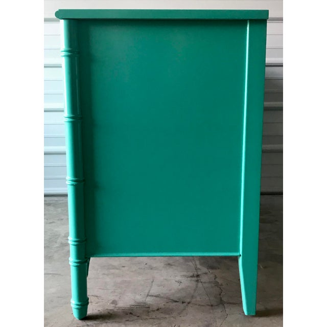 Wood Vintage Restored Thomasville Faux Bamboo Dresser For Sale - Image 7 of 10