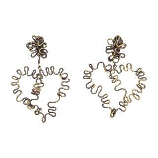 Brutalist Brass Studio Sculptural Heart Clip on Earrings - a Pair For Sale