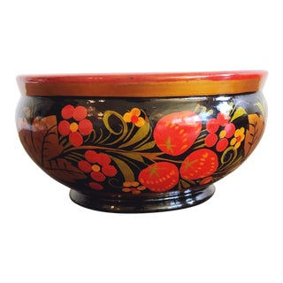 Russian Lacquerware Painted Bowl For Sale