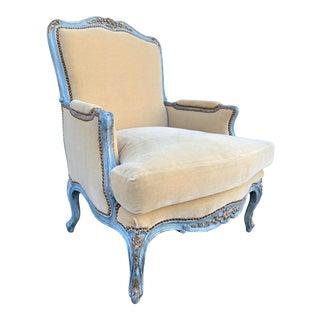 19th Century French Blue & Parcel Gilt Bergere with Ebanista Mohair Velvet For Sale