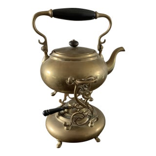 1910s Brass Tea Pot With Burner Stand For Sale
