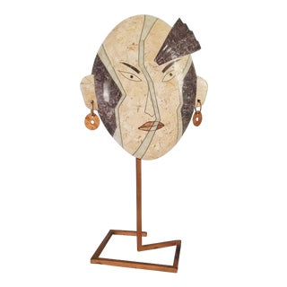 Maitland Smith Tessellated Stone Female Face Sculpture For Sale