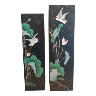 Vintage 1980s Hand Painted Asian Motifs Pillars Columns Stands - a Pair For Sale