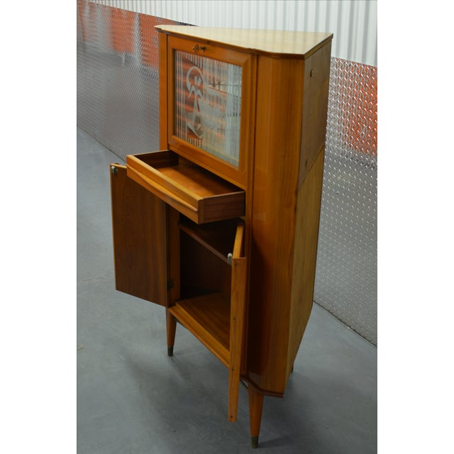Mid-Century Scandinavian Corner Bar Cabinet For Sale In New York - Image 6 of 7