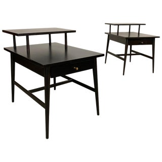 Mid-Century Modern Paul McCobb Planner Group Tiered Ebonized End Tables - a Pair For Sale