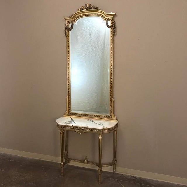 19th Century French Louis XVI Marble Top Giltwood Console With Mirror For Sale - Image 4 of 12