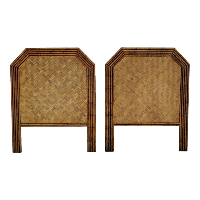 Carved Faux Bamboo Twin Headboards, a Pair - Taiwan For Sale
