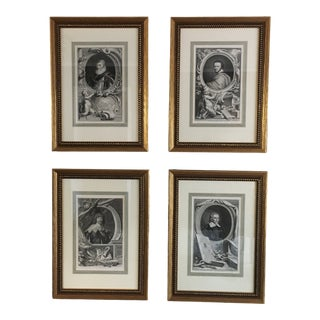 Framed 18th Century Style Portrait Engravings- a Set of 4 For Sale