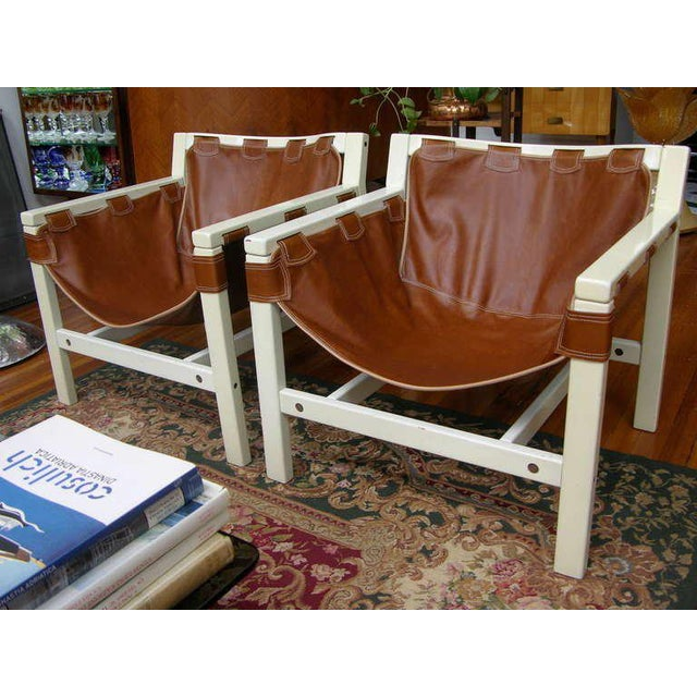 1970s 1970s Vintage Italian Safari Brown Leather and White Lacquered Chairs- a Pair For Sale - Image 5 of 7