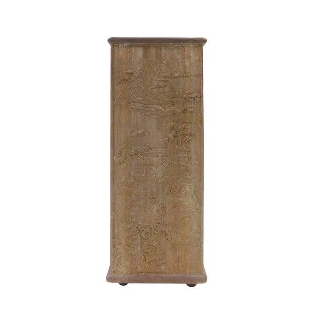 Square carved bamboo brush holder chairish
