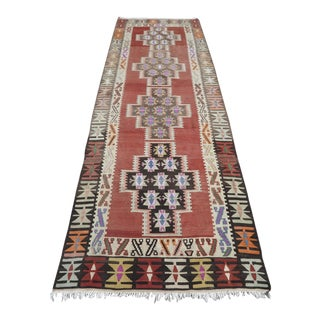 Vintage Turkish Handmade Kilim Runner- 3′6″ × 10′4″ For Sale