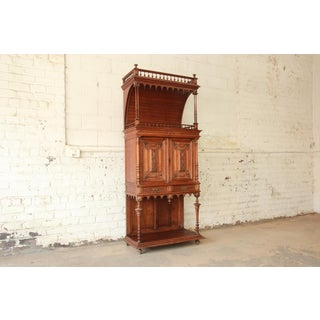 Antique Carved Oak Tall French Bar Cabinet Preview