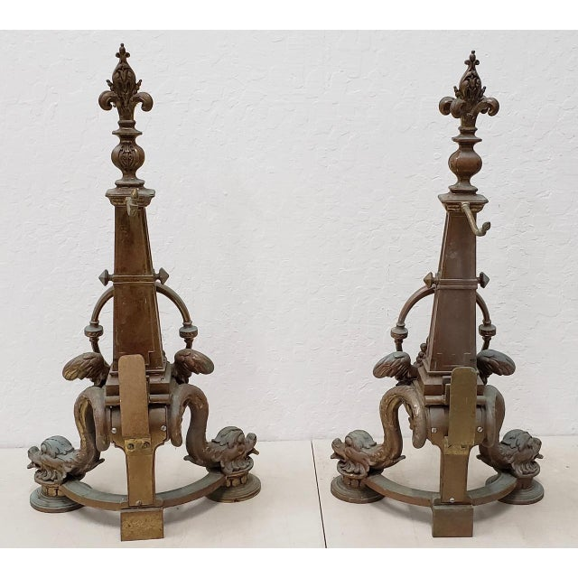 Late 19th Century French Baroque Bronze Chenets / Andirons - a Pair For Sale - Image 11 of 12